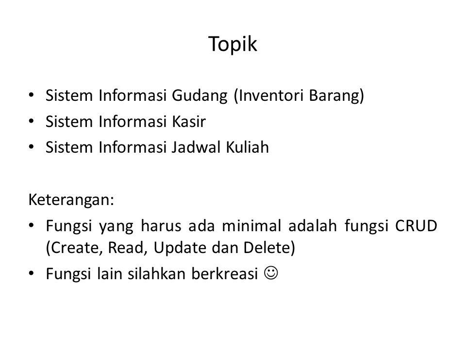 Topik Sistem Informasi Gudang (Inventori Barang)