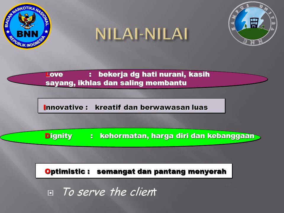 NILAI-NILAI To serve the client
