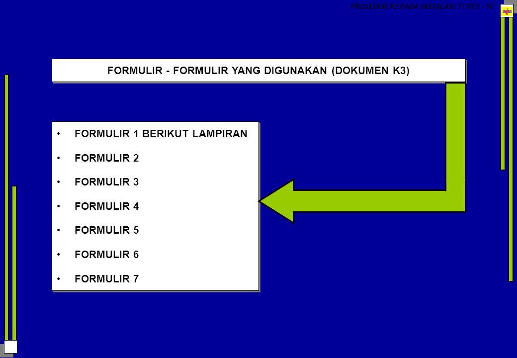 FORMULIR - FORMULIR YANG DIGUNAKAN (DOKUMEN K3)