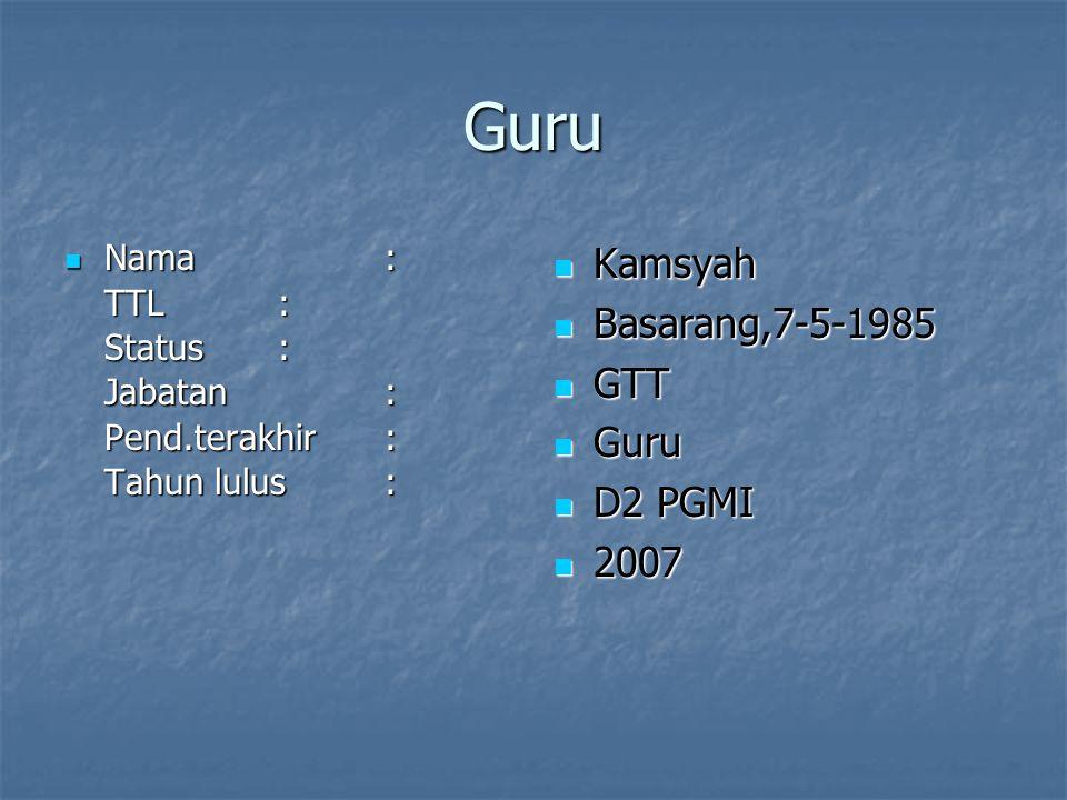 Guru Kamsyah Basarang,7-5-1985 GTT Guru D2 PGMI 2007