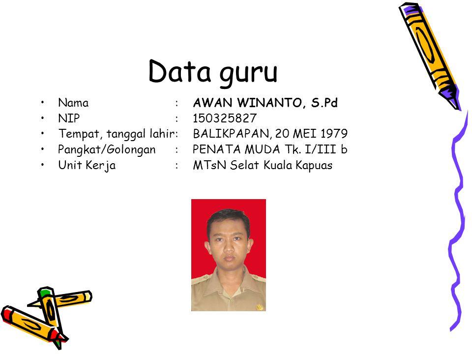 Data guru Nama : AWAN WINANTO, S.Pd NIP : 150325827
