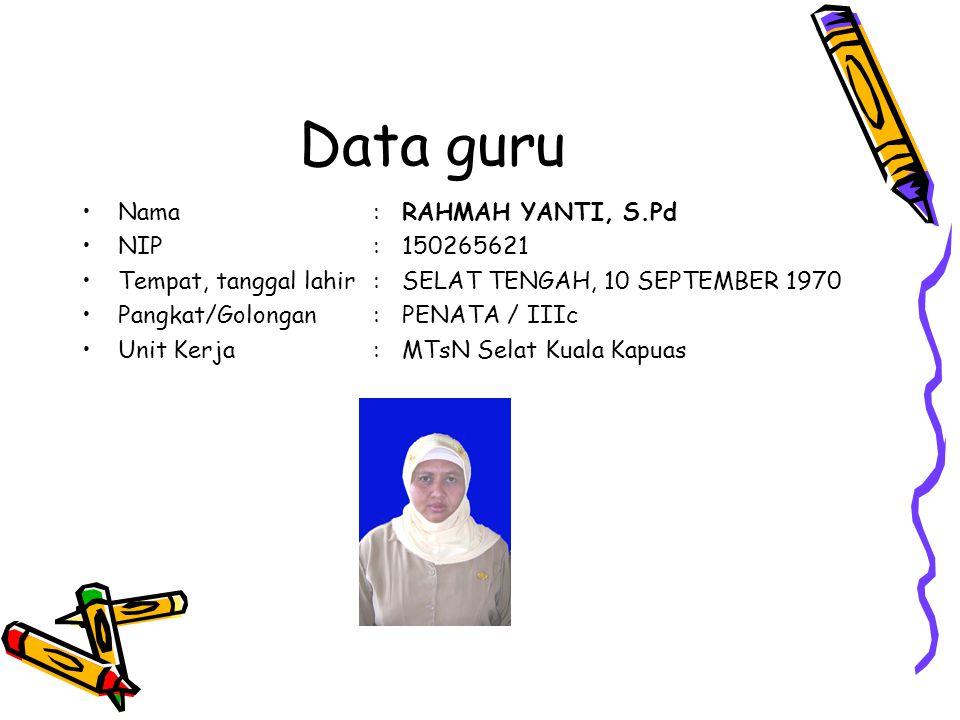 Data guru Nama : RAHMAH YANTI, S.Pd NIP : 150265621