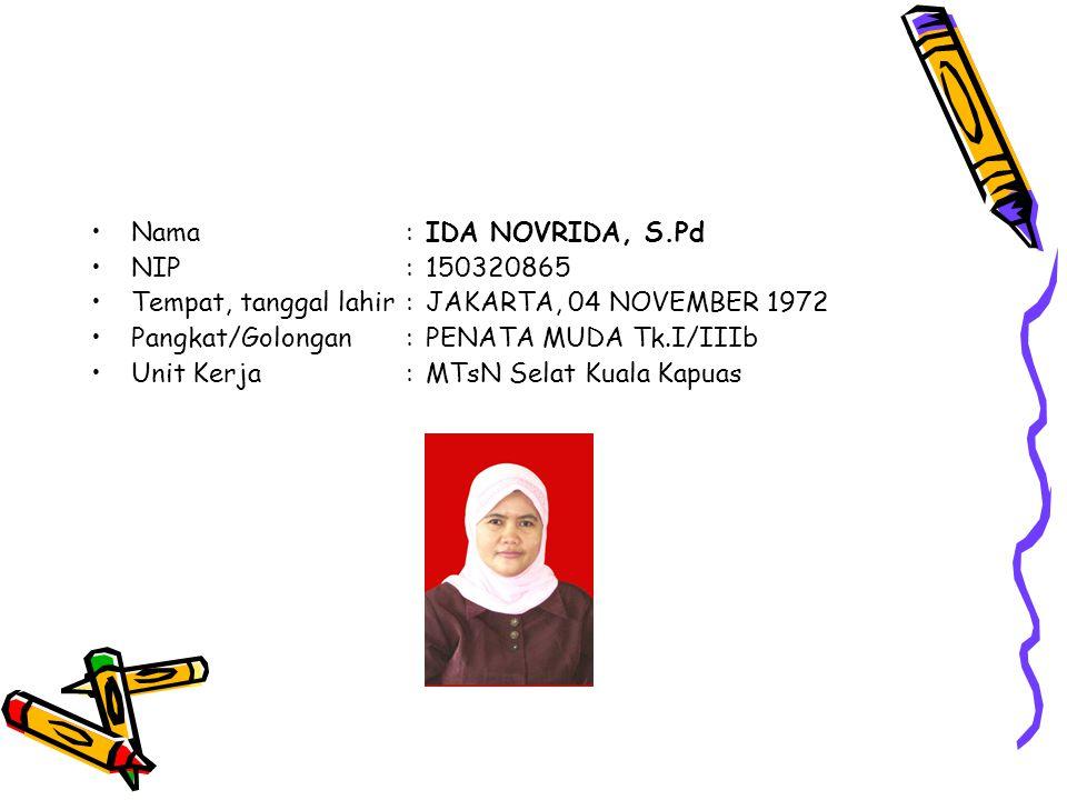 Nama : IDA NOVRIDA, S.Pd NIP : 150320865. Tempat, tanggal lahir : JAKARTA, 04 NOVEMBER 1972. Pangkat/Golongan : PENATA MUDA Tk.I/IIIb.