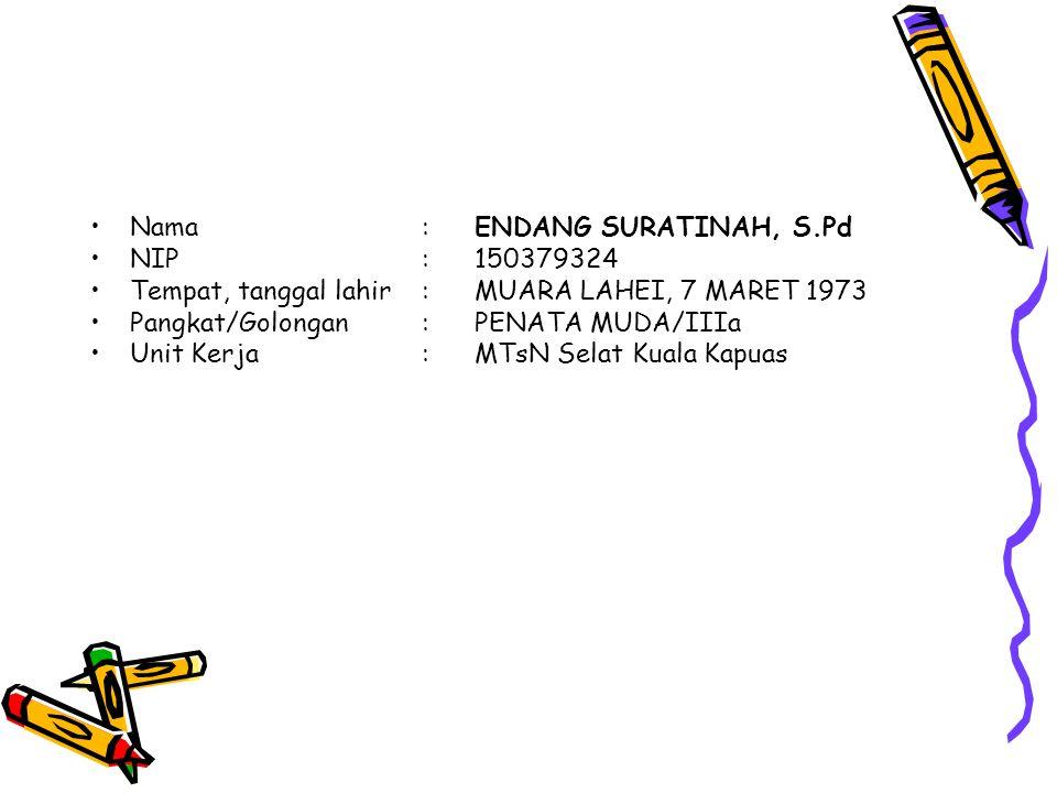 Nama : ENDANG SURATINAH, S.Pd