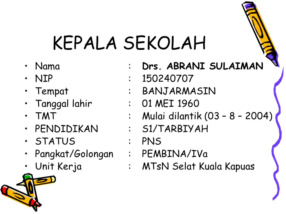 KEPALA SEKOLAH Nama : Drs. ABRANI SULAIMAN NIP : 150240707