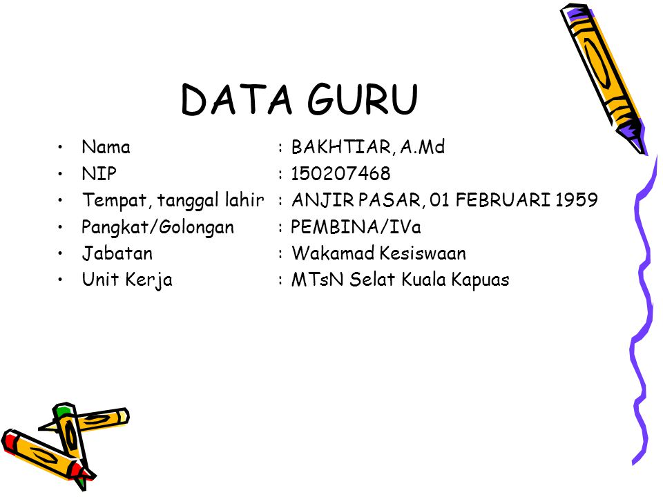 DATA GURU Nama : BAKHTIAR, A.Md NIP :