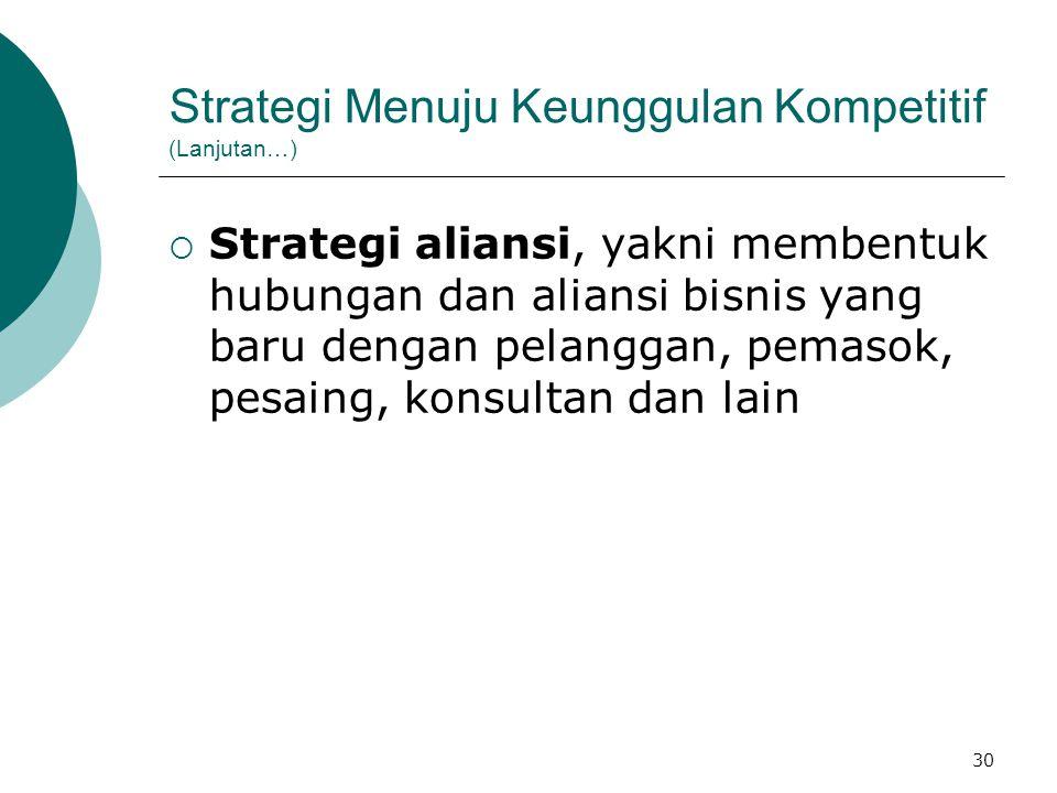 Strategi Menuju Keunggulan Kompetitif (Lanjutan…)
