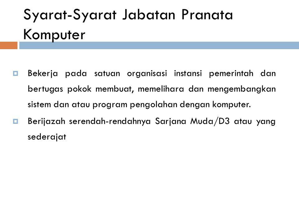 Syarat-Syarat Jabatan Pranata Komputer