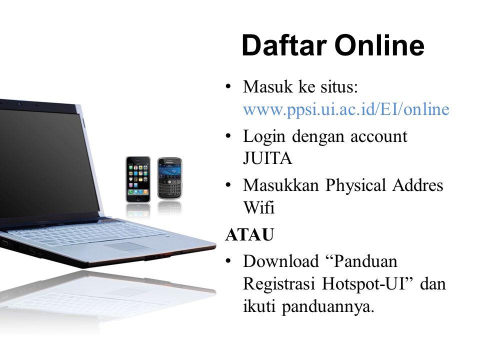 Daftar Online Masuk ke situs: www.ppsi.ui.ac.id/EI/online