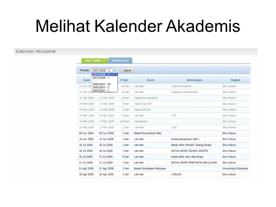 Melihat Kalender Akademis