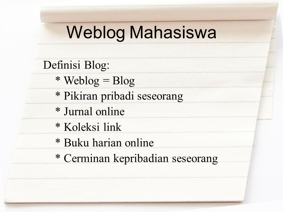 Weblog Mahasiswa Definisi Blog: * Weblog = Blog