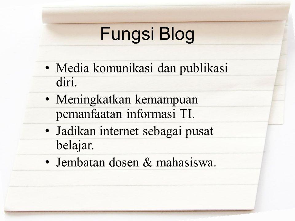 Fungsi Blog Media komunikasi dan publikasi diri.