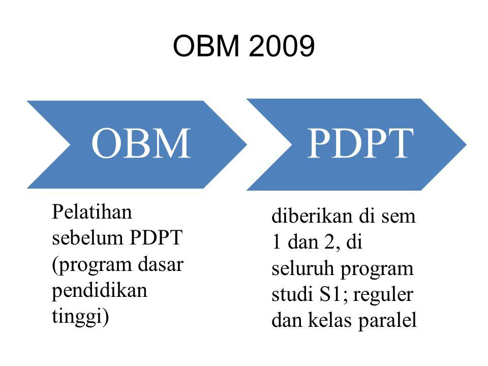 PDPT OBM 2009 Pelatihan sebelum PDPT (program dasar pendidikan tinggi)