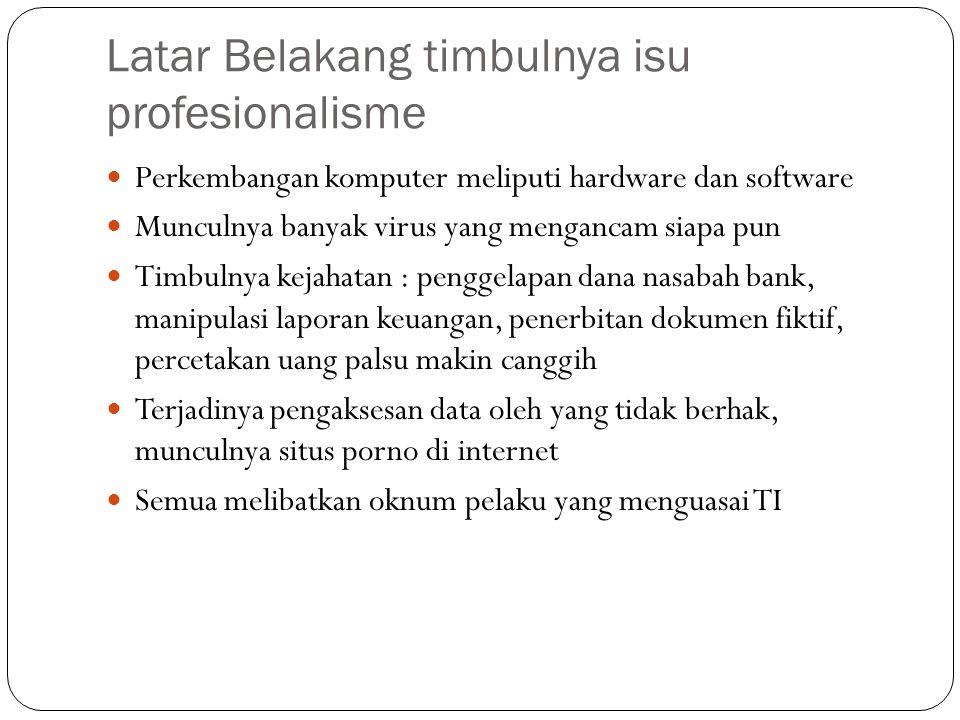 Latar Belakang timbulnya isu profesionalisme