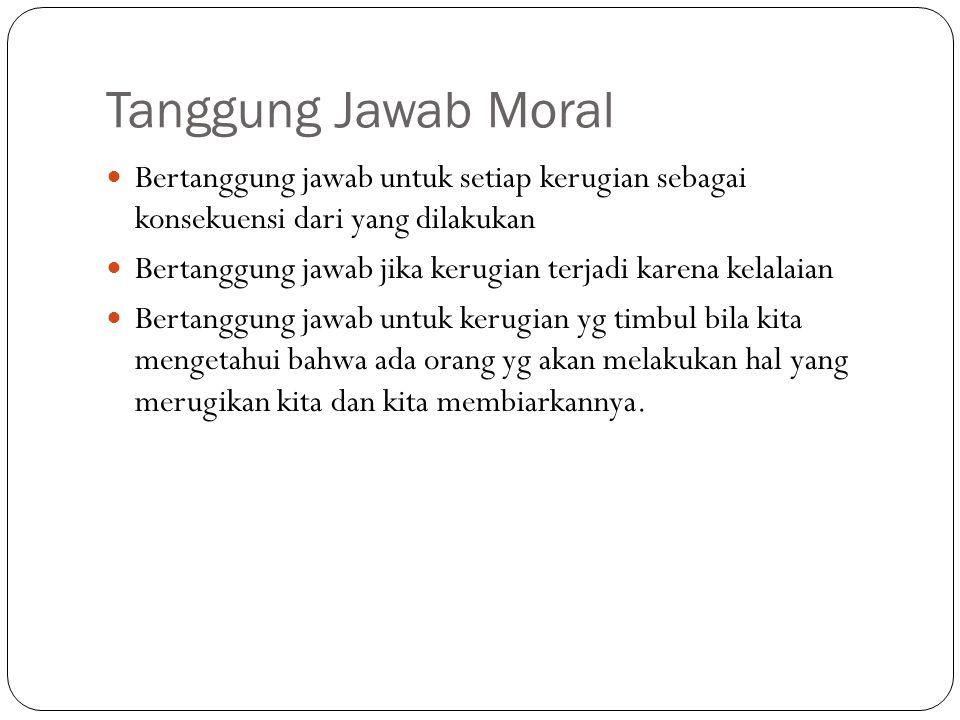 Tanggung Jawab Moral Bertanggung jawab untuk setiap kerugian sebagai konsekuensi dari yang dilakukan.