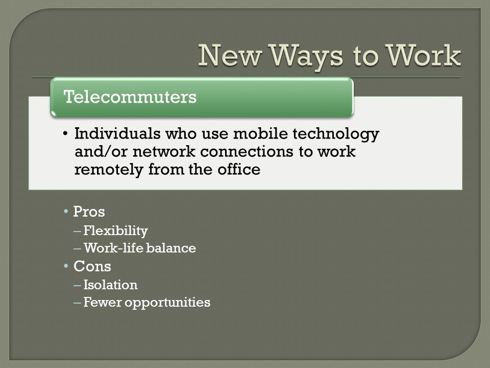 New Ways to Work Telecommuters Pros Cons Flexibility Work-life balance