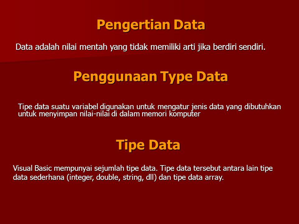 Pengertian Data Penggunaan Type Data Tipe Data