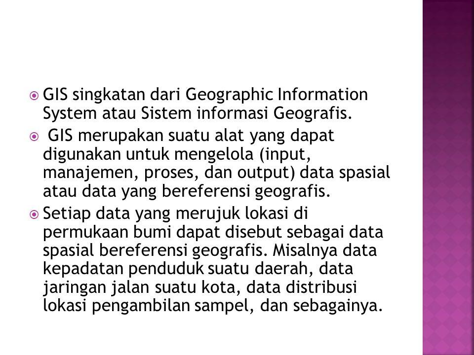 GIS singkatan dari Geographic Information System atau Sistem informasi Geografis.