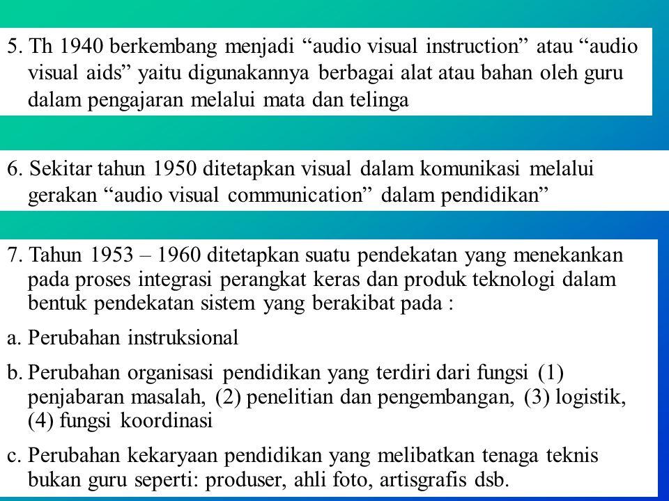 5. Th 1940 berkembang menjadi audio visual instruction atau audio visual aids yaitu digunakannya berbagai alat atau bahan oleh guru dalam pengajaran melalui mata dan telinga