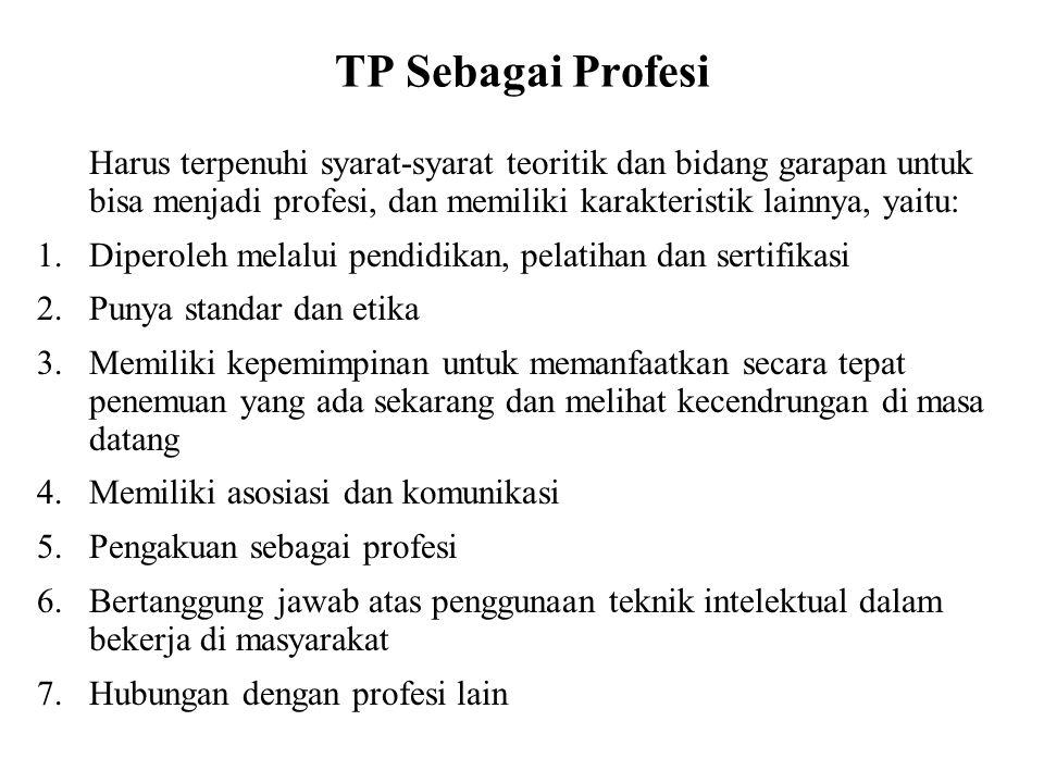 TP Sebagai Profesi Harus terpenuhi syarat-syarat teoritik dan bidang garapan untuk bisa menjadi profesi, dan memiliki karakteristik lainnya, yaitu: