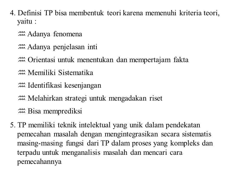 4. Definisi TP bisa membentuk teori karena memenuhi kriteria teori, yaitu :