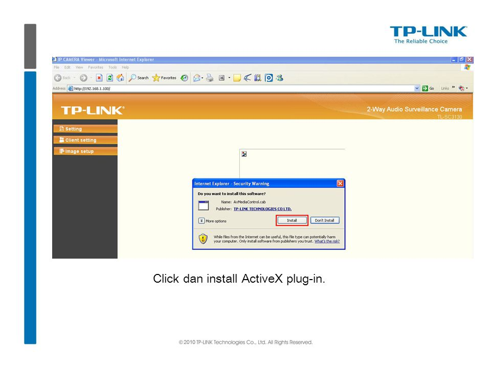 Click dan install ActiveX plug-in.