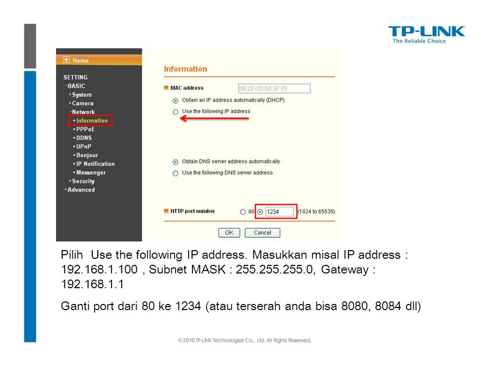 Pilih Use the following IP address. Masukkan misal IP address : 192