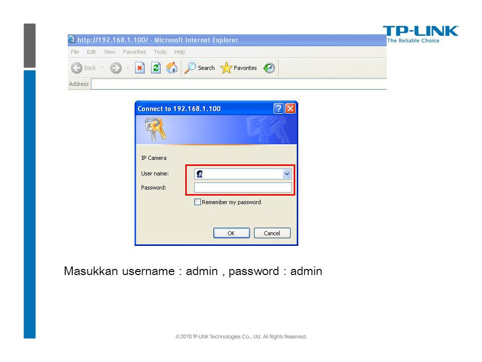 Masukkan username : admin , password : admin