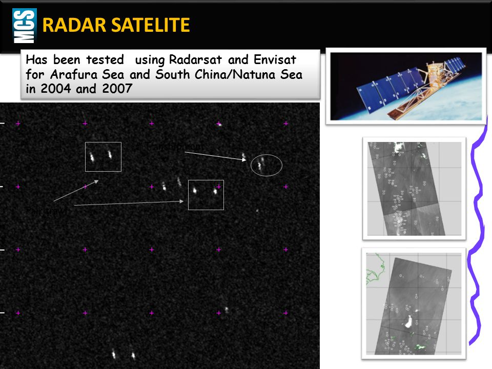 MCS RADAR SATELITE. Has been tested using Radarsat and Envisat for Arafura Sea and South China/Natuna Sea in 2004 and 2007.
