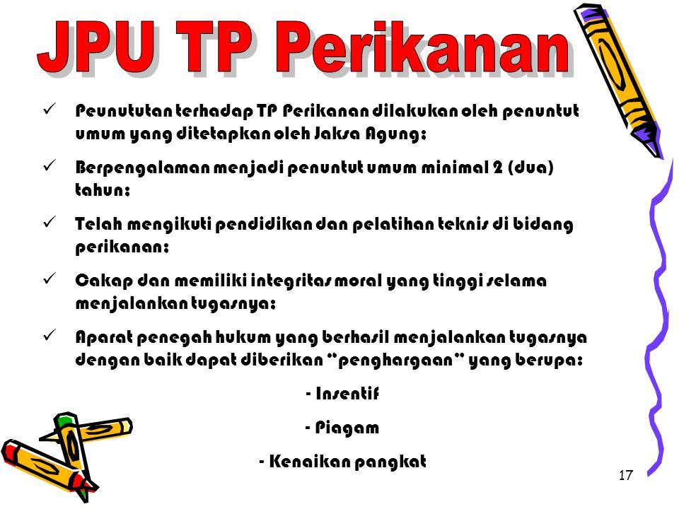 JPU TP Perikanan Peunututan terhadap TP Perikanan dilakukan oleh penuntut umum yang ditetapkan oleh Jaksa Agung;