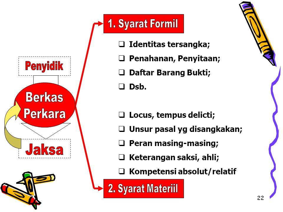 Berkas Perkara 1. Syarat Formil Identitas tersangka;