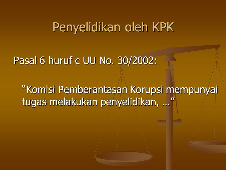 Penyelidikan oleh KPK Pasal 6 huruf c UU No. 30/2002: