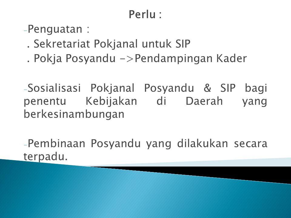 Perlu : Penguatan : . Sekretariat Pokjanal untuk SIP. . Pokja Posyandu ->Pendampingan Kader.