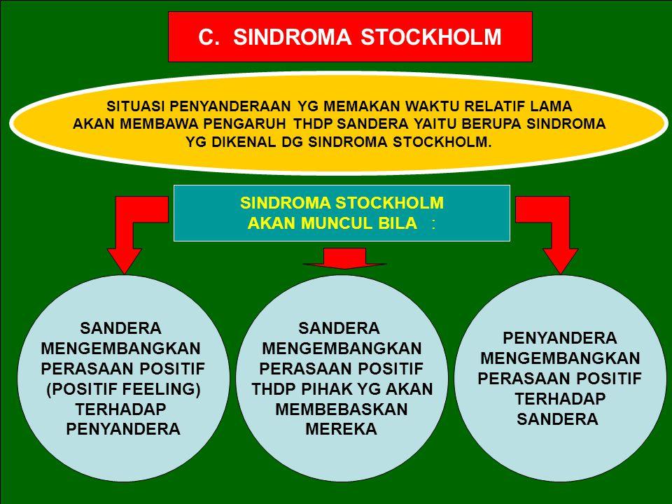 C. SINDROMA STOCKHOLM SINDROMA STOCKHOLM AKAN MUNCUL BILA : SANDERA