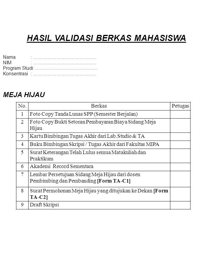 HASIL VALIDASI BERKAS MAHASISWA