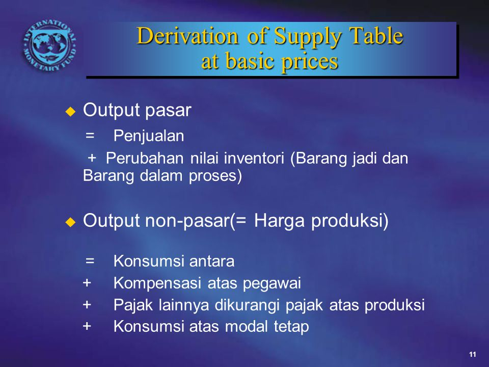 Derivation of Supply Table at basic prices