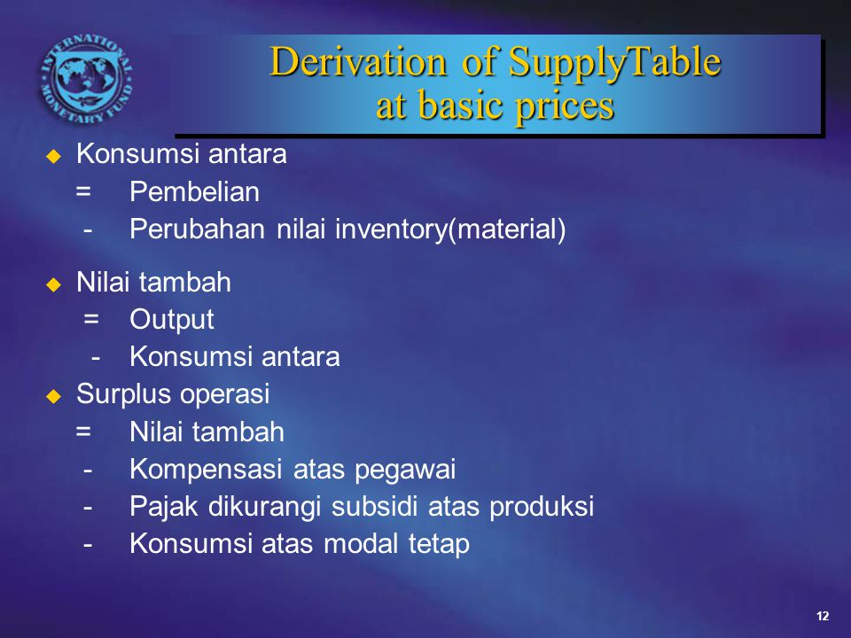 Derivation of SupplyTable at basic prices