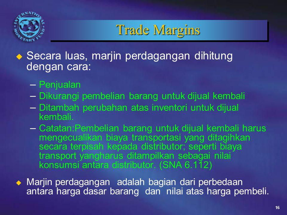 Trade Margins Secara luas, marjin perdagangan dihitung dengan cara: