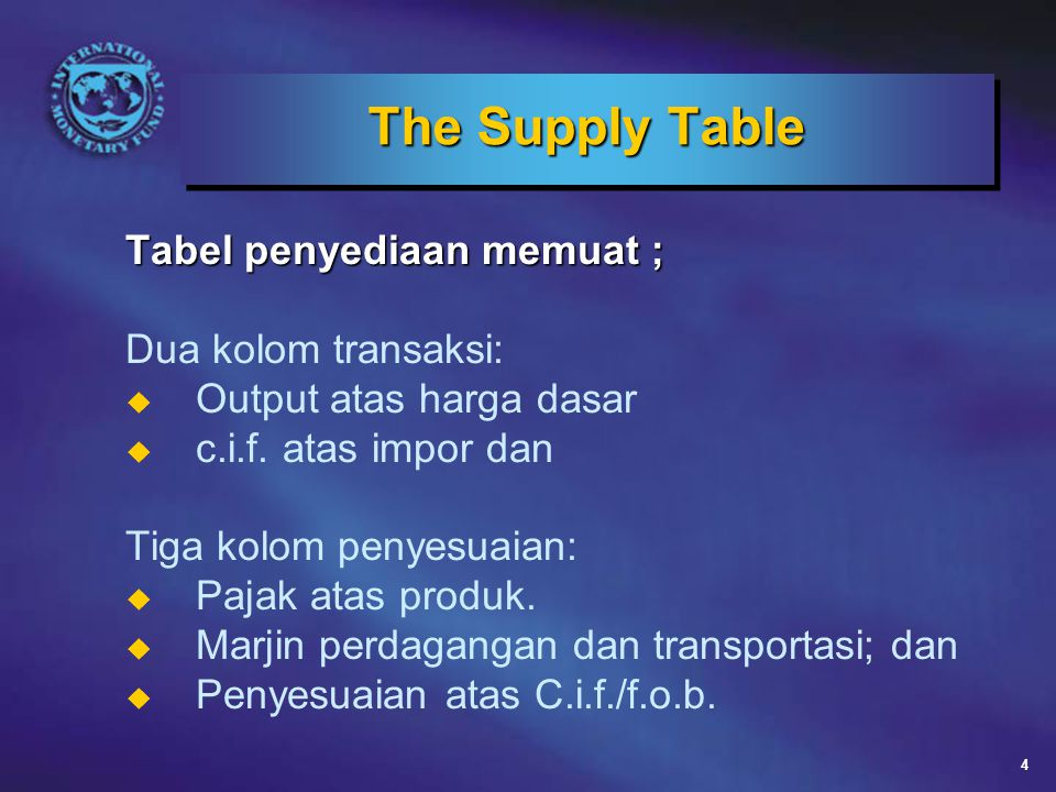 The Supply Table Tabel penyediaan memuat ; Dua kolom transaksi:
