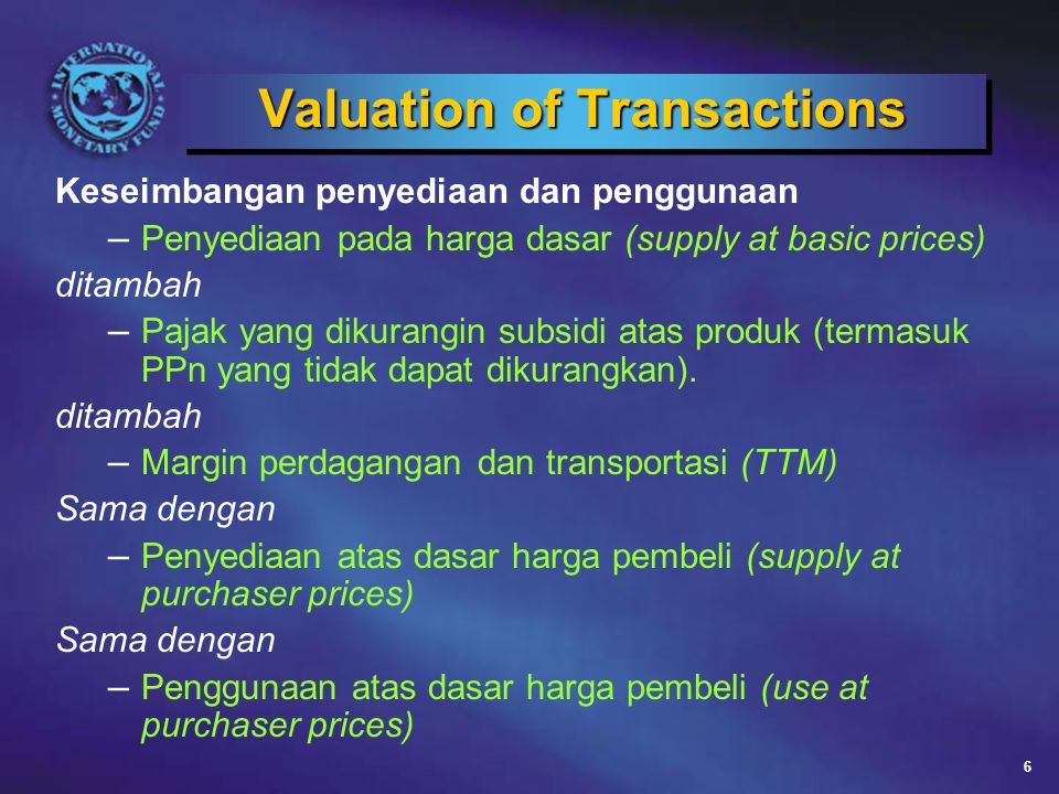 Valuation of Transactions