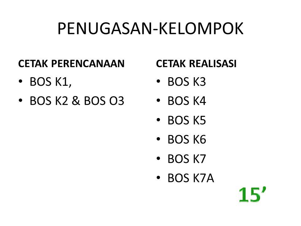 15' PENUGASAN-KELOMPOK BOS K1, BOS K2 & BOS O3 BOS K3 BOS K4 BOS K5