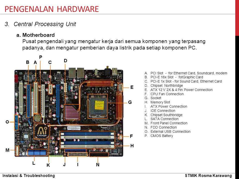 Pengenalan hardware Central Processing Unit a. Motherboard