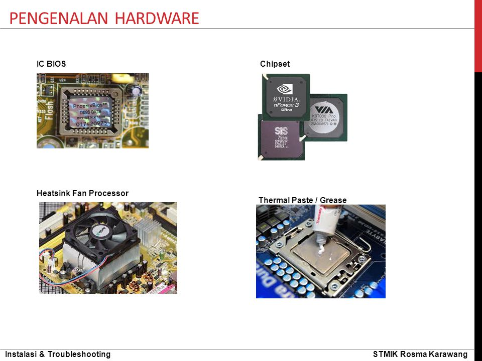 Pengenalan hardware IC BIOS Chipset Heatsink Fan Processor