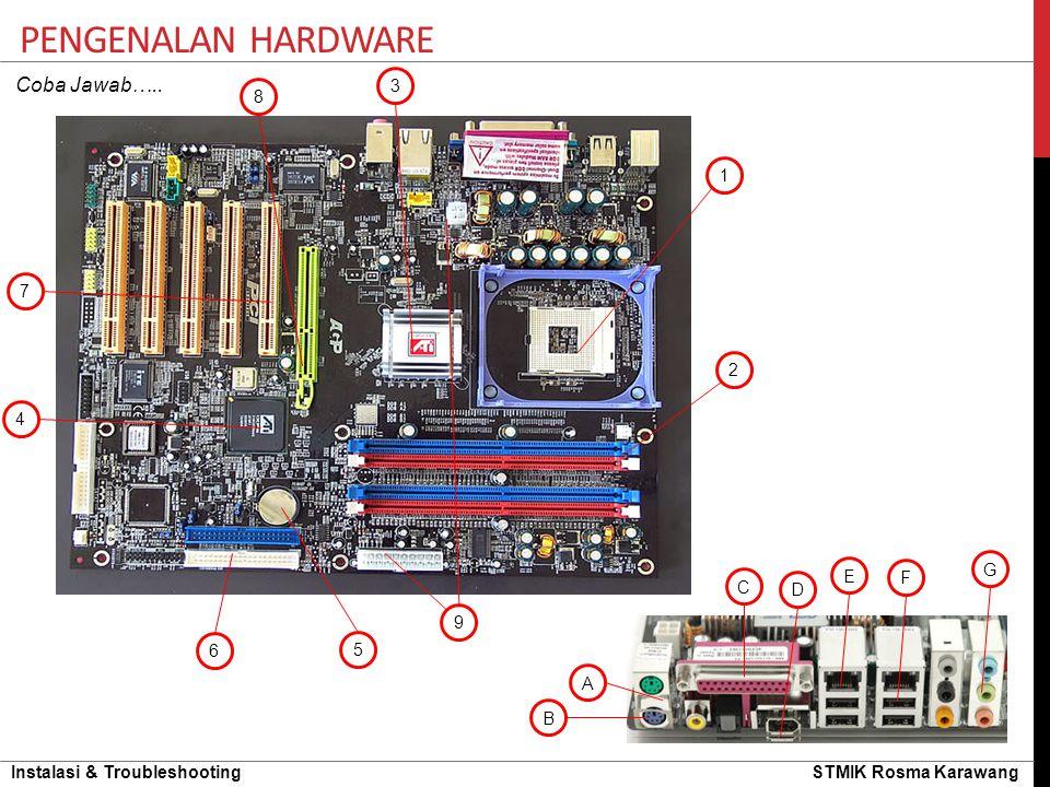 Pengenalan hardware Coba Jawab….. 3 8 1 7 2 4 G E F C D 9 6 5 A B