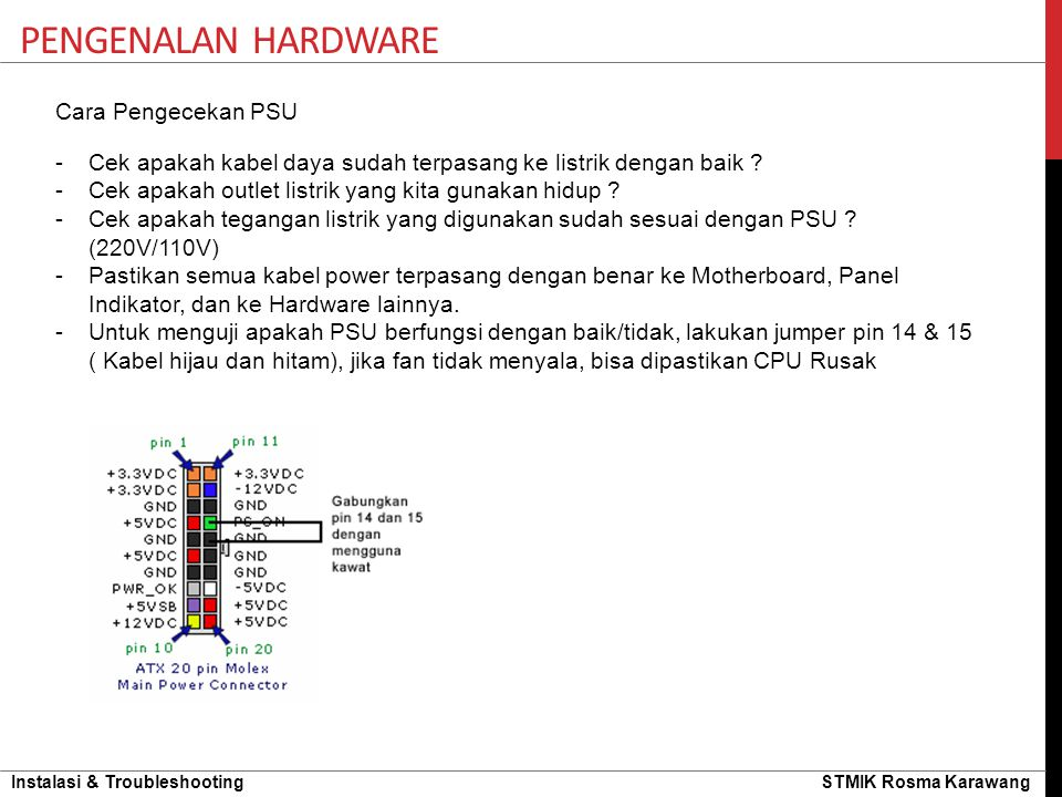 Pengenalan hardware Cara Pengecekan PSU