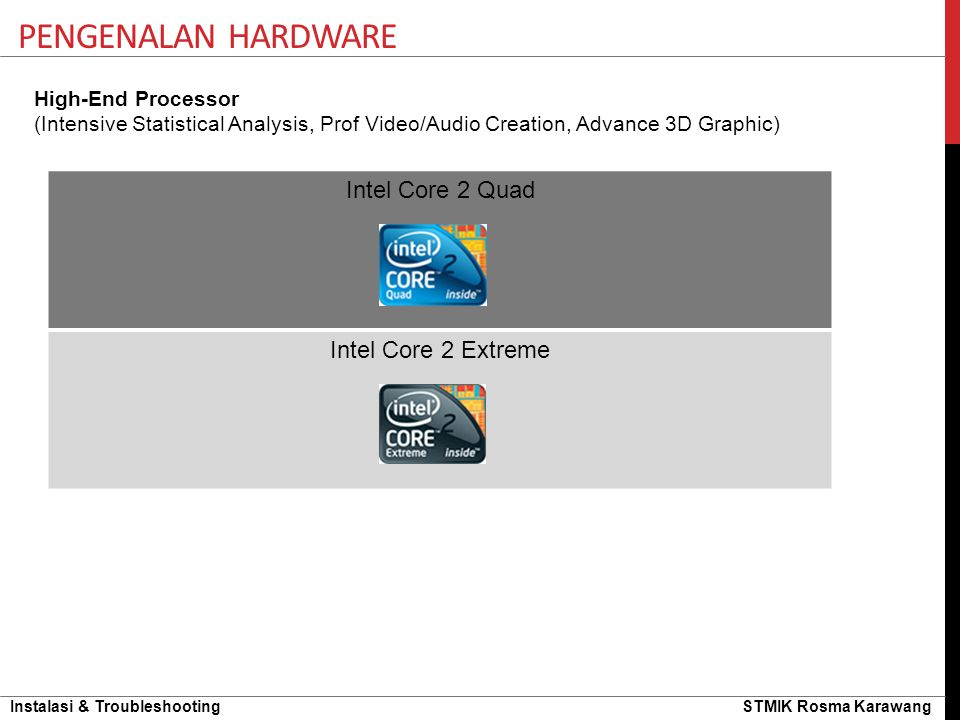 Pengenalan hardware Intel Core 2 Quad Intel Core 2 Extreme