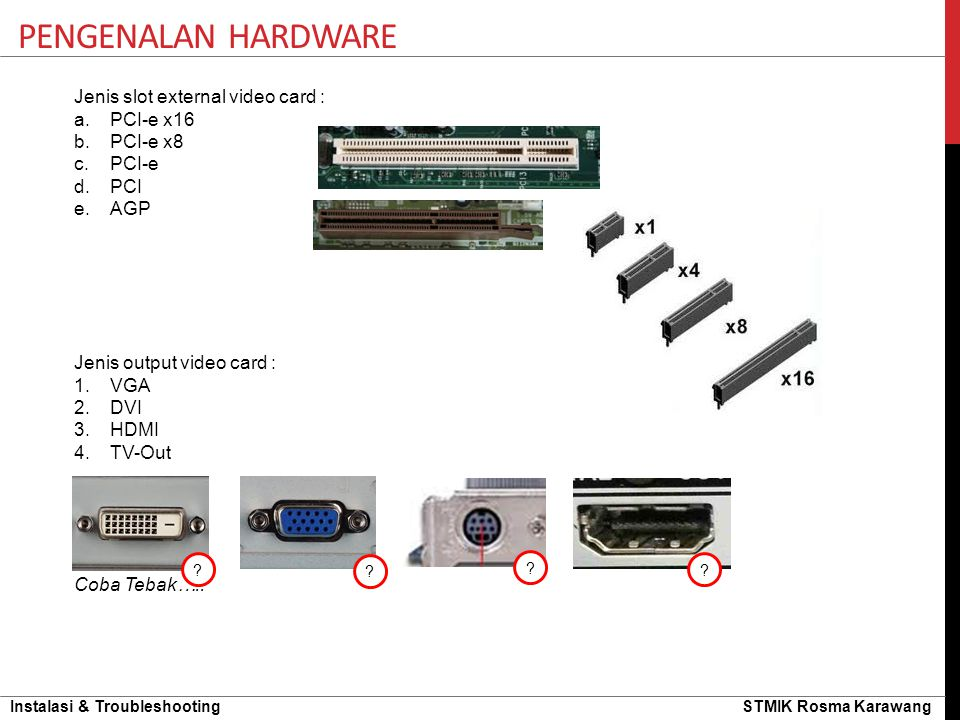 Pengenalan hardware Jenis slot external video card : PCI-e x16