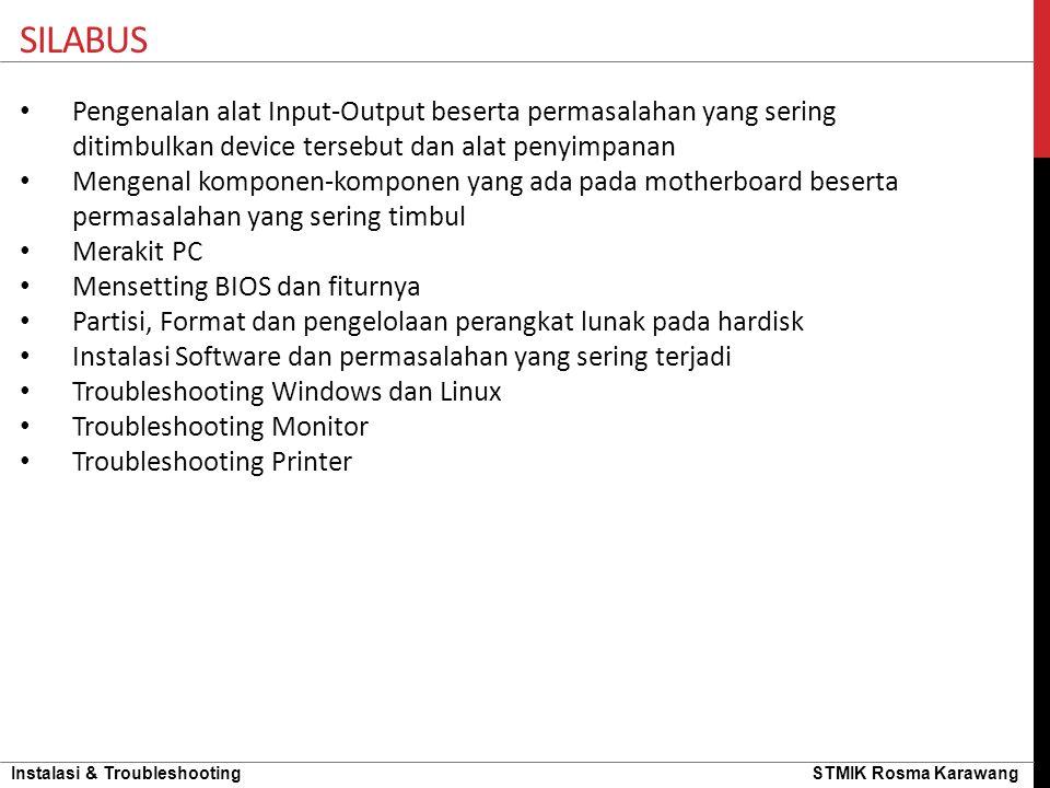 Silabus Pengenalan alat Input-Output beserta permasalahan yang sering ditimbulkan device tersebut dan alat penyimpanan.