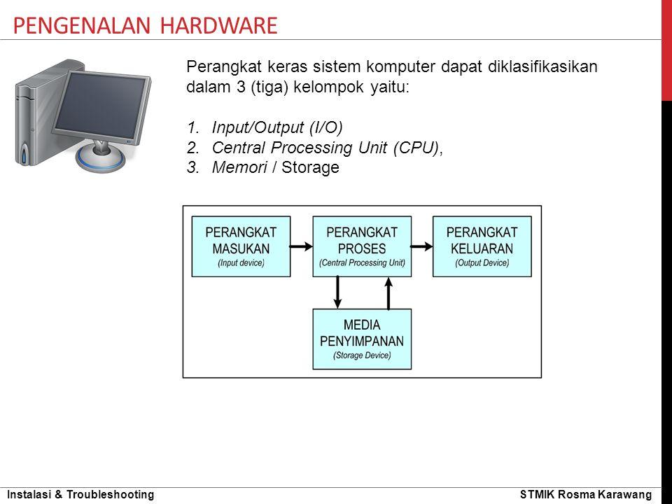 Pengenalan hardware Perangkat keras sistem komputer dapat diklasifikasikan dalam 3 (tiga) kelompok yaitu: