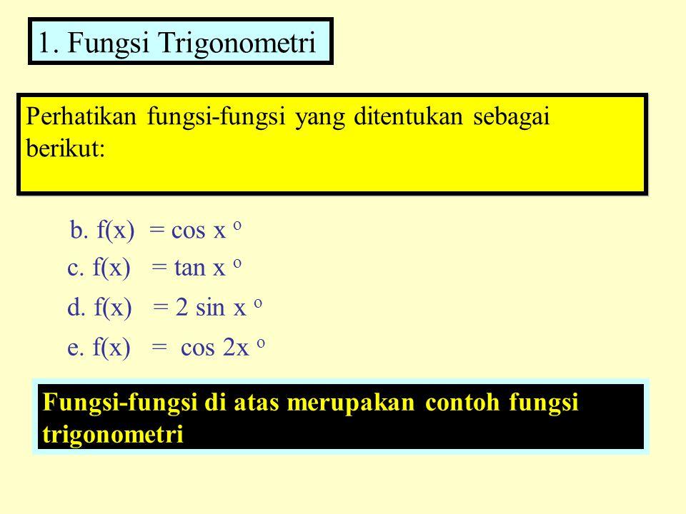 1. Fungsi Trigonometri Perhatikan fungsi-fungsi yang ditentukan sebagai berikut: b. f(x) = cos x o.